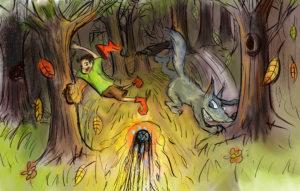 Fitzgerald et le grand méchant loup dans la forêt
